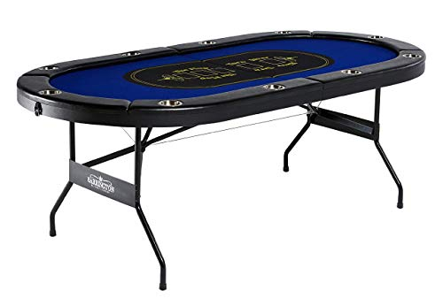 Barrington Texas Holdem Poker Table for 10 Players with Padded Rails and Cup Holders - Blue