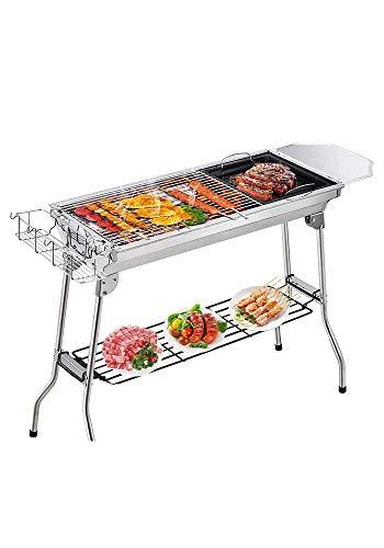 Edelstahl-Grill, Home Barbecue-Grill Faltbarer Holzkohlegrill im Freien, Grillzubehör Kompletter Werkzeugsatz