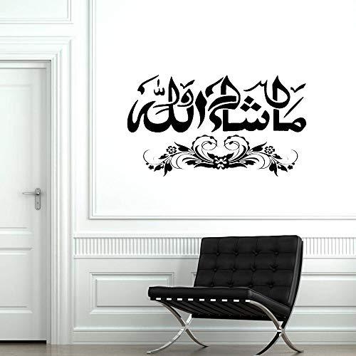 wopiaol MashaAllah Islamische Vinyl Aufkleber Wandkunst Arabische Kalligraphie Schlafzimmer Dekor Zubehör Dekoration an der Wand