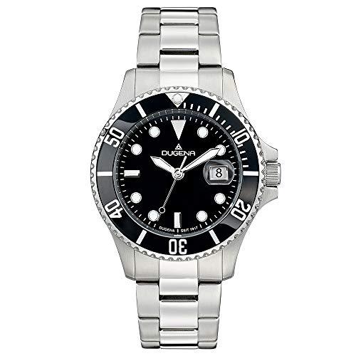 DUGENA Herren-Armbanduhr 4460775 Diver, Quarz, schwarzes Zifferblatt, Indexe, Edelstahlgehäuse, gehärtetes Mineralglas, 30 bar