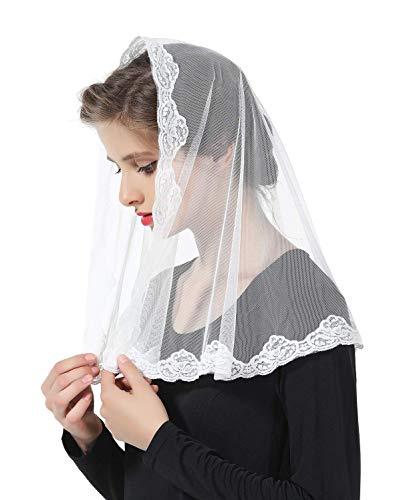 Mantilla De Encaje Española Mujer Capilla Velo Pañuelo de Iglesia Católica Bordado Chal Bufanda Negra Blanca V110