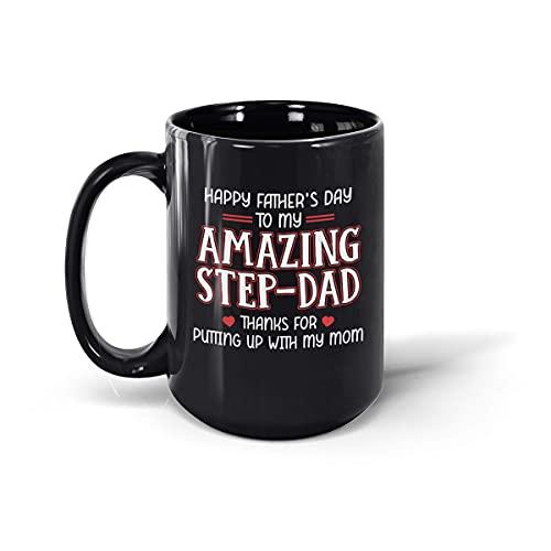 Taza de café de cerámica para hombre y mujer, con texto en inglés 'Happy Father's Day to My Amazing Step-Dad' (negro, 15 onzas)