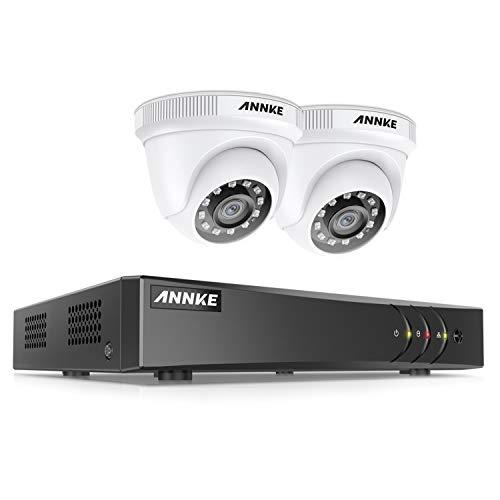ANNKE 5MP-N DVR Video Kit de Cámaras de Seguridad 4CH H.265+ DVR sin Disco Duro de Vigilancia + CCTV 2 Cámaras Sistema de Seguridad 1080P IP66 Impermeable Visión Nocturna Silencioso-sin Disco Duro