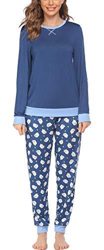 Pijama largo de invierno para mujer, conjunto de pijama de dos piezas, ropa de dormir de manga larga, ropa de dormir larga con pantalones a cuadros para mujer Azul Con Oveja M