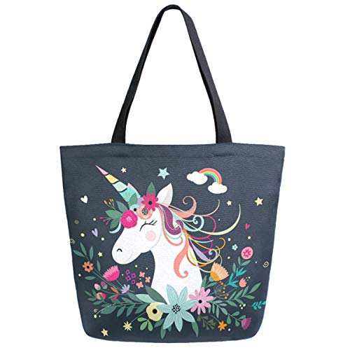 ZzWwR Chic Cute Cartoon Unicorn with Flower Rainbow Extra Large Canvas Shoulder Tote Top Handle Bag for Gym Beach Travel Shopping