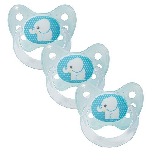Dentistar® Silikon Schnuller 3er Set - Beruhigungssauger - Baby Nuckel Größe 1 von Geburt an - 0-6 Monate - zahnfreundlich & kiefergerecht - Made in Germany - BPA frei - Elefant