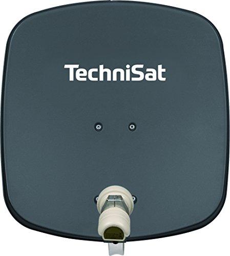TechniSat DIGIDISH 45 - Satelliten-Schüssel für 1 Teilnehmer (45 cm kleine Sat Anlage - Komplettset mit Wandhalterung und Universal V/H Single-LNB) grau