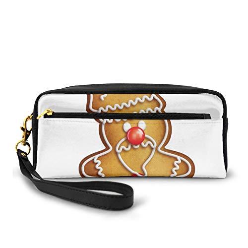 Pencil Case Pen Bag Pouch Stationary,Whimsical Cartoon Santa Gingerbread Man with Bonbon Candies,Small Makeup Bag Coin Purse