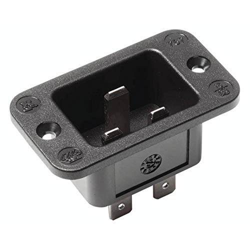 Bachmann 917.173 Kaltgeräte-Einbaustecker C20 2-polig mit Schutzkontakt in schwarz