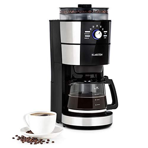 Klarstein Grind & Brew Filter-Kaffeemaschine mit Kegelmahlwerk, Glaskanne 10 Tassen, 1 Liter Wassertank, Kaffeebohnen und Filterkaffee, wählbarer Mahlgrad & Kaffeestärke, 1000 W, silber/schwarz