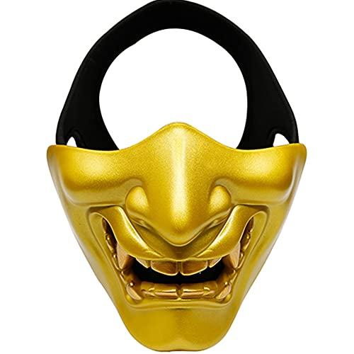 AQzxdc Máscara táctica Heavy Skull Devil Monster, Evil Demon Samurai Máscaras Protectoras de Media Cara, para Halloween BBS CS Juego Accesorios de Disfraces Ball Party Airsoft Mask,Oro