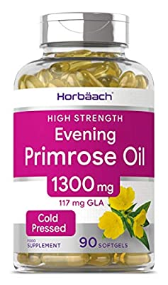Evening Primrose Oil 1300mg | 90 Capsules | Natural Menopause & PMS Relief | Rich Source of Omega 6 | Non-GMO, Gluten Free | by Horbaach