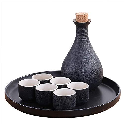 BBGSFDC Pots à thé, 6 Morceaux SEKER Set, Verres à vin en céramique Noire Japonaise avec Plateau en céramique, Coupes d'artisanat Traditionnelles, for Le Froid/Chaud/Chaud/Shochu/Thé