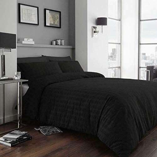 [hachette] SEERSUCKER DUVET COVER BEDDING BED SET WITH PILLOWCASES (Black, King)