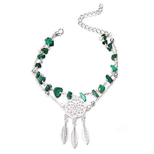 KingbeefLIU Pulsera tobillera para mujer con cuentas de turquesa de imitación con atrapasueños y atrapasueños de varias capas, color plateado y verde