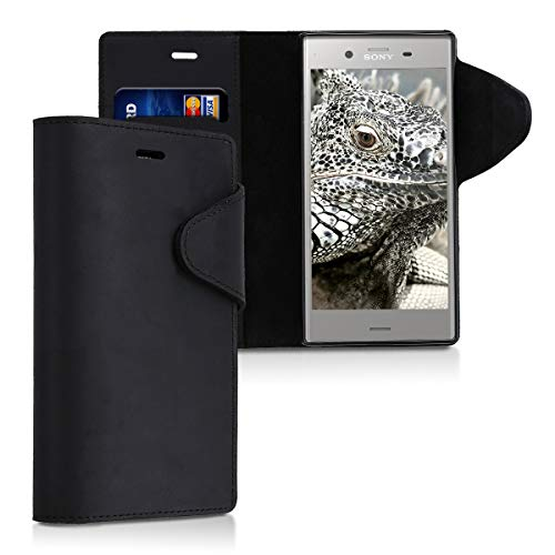 kalibri Wallet Hülle kompatibel mit Sony Xperia XZ1 - Hülle Leder - Handy Cover Handyhülle in Schwarz