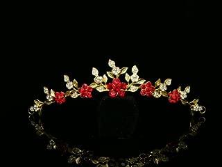Rhinestone Crystal Flower Bridal Wedding Bridesmaid Tiara Comb - Red Crystals Gold Plating
