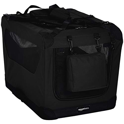 AmazonBasics Hoogwaardige transportbox voor huisdieren, opvouwbaar, zacht, 66 cm, zwart
