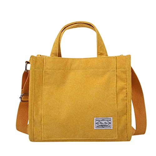 Boutiquesi Women's Simple Canvas Bag Corduroy Handbag Fashion Casual Shoulder Messenger Bag, Women Storage Pocket Messenger Bag Hand Bag Soft Lightweight Stylish Travel Daypack Top-Handle Bags