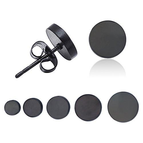 5pares negro/tono de plata redonda de acero inoxidable Ear Studs Earings Set Joyería para las mujeres hombres hipoalergénico, negro, 4mm-8mm