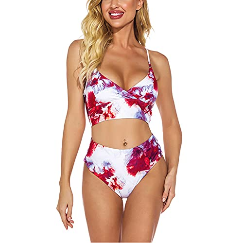 SFGSA Traje de Baño 2 Piezas Sujetador Top Conjuntos de Bikini Push Up Mujer Sexy Talle Alto Cuello Halter Bañador,Style a,M