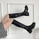 ZXCN 2022 Zapatos de Mujer Botas de Montar Plataforma Plana Rodilla Botas Altas Moda Punta Redonda con Cremallera Damas Botas largas Invierno Negro