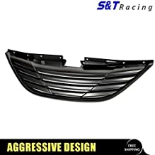 S&T Racing Matte Black Horizontal Front Hood Bumper Grill Grille Cover Abs For 10-13 Sonata MPN: HY1200154