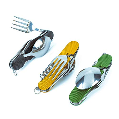 6-in-1 Multi-Function Camping Utensil Flatware Set Detachable Spoon Fork Knife Combo Mess Kit with Carrying Pouch (Black + Gold + Green)