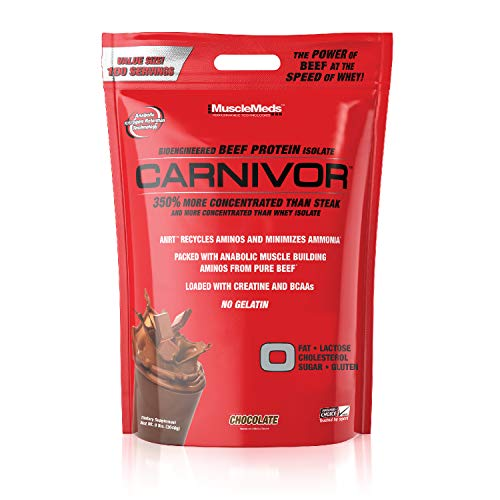 MuscleMeds Carnivor Beef Protein Isolate Powder, Chocolate, 8 Pound, 128 oz (003662)