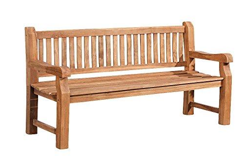 CLP Wetterfeste Gartenbank Jackson V2 aus massivem Teakholz | Holzbank mit ergonomischer Sitzfläche | In verschiedenen Größen erhältlich 120 cm, Teak