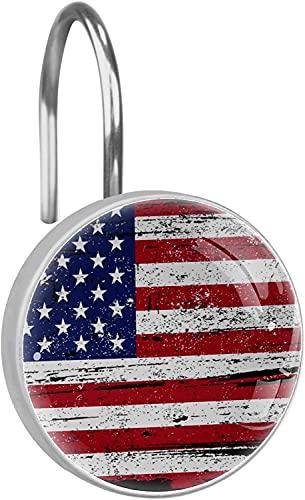 CAJOLG Button Shower Hooks, Retro Flag, Patriotic, 12 Amount, Shower Curtain Hooks, Rings, Rust-Resistant, Metal Sliding line,Curtain Rings