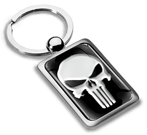 Skino Schlüsselanhänger Metall Keyring Keychain Punisher Skull Schädel Totenkopf Auto Schlüssel Geschenk Metall-Schlüsselanhänger KK 217