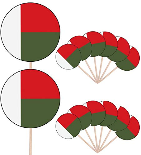 Madagaskar Vlag Party eten taart cupcakes plukt Sticks vlaggen opstaan ​​decoraties toppers (Pack van 14)