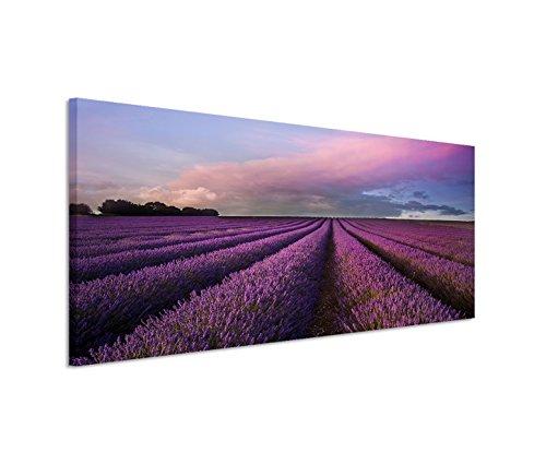 Paul Sinus Art 150x 50cm tela su telaio Lavanda Campo Estate paesaggio all' alba della parete su tela come Panorama