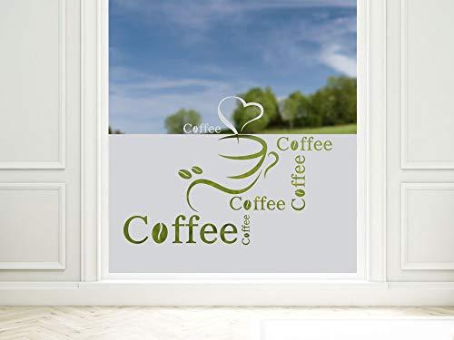 GRAZDesign Sichtschutzfolie Küche Coffee Kaffee, Fensterfolie zur Deko/Sichtschutz, Glasdekorfolie Blickdicht / 80x57cm