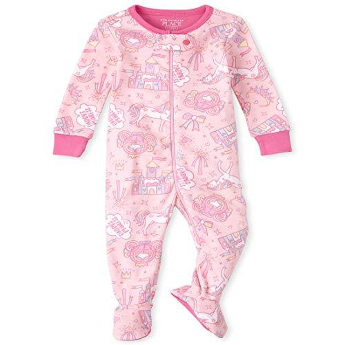 The Children's Place Pijama de algodón de una Pieza para bebé y niña pequeña, Cameo, 12-18 Meses