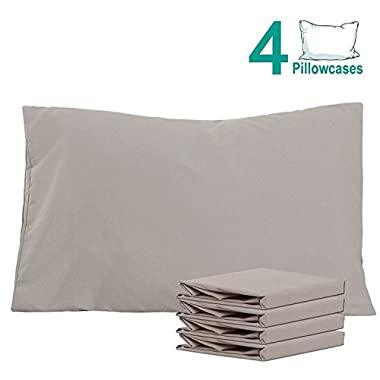 NTBAY 100% Brushed Microfiber Pillowcases Set of 4, Soft and Cozy, Wrinkle, Fade, Stain Resistant, 20 x 30 , Smoky Grey