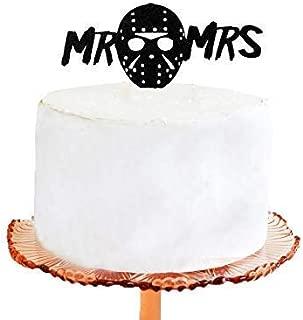 Cheyan Wedding Cake Topper Halloween Wedding Cake Topper Jason Mask Silhouette Wedding Cake Topper with Mr & Mrs
