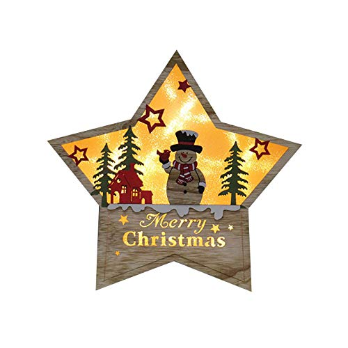 Fasclot Decoration & Hangs Christmas Decorations Luminous Wooden Five-Pointed Star Ornaments