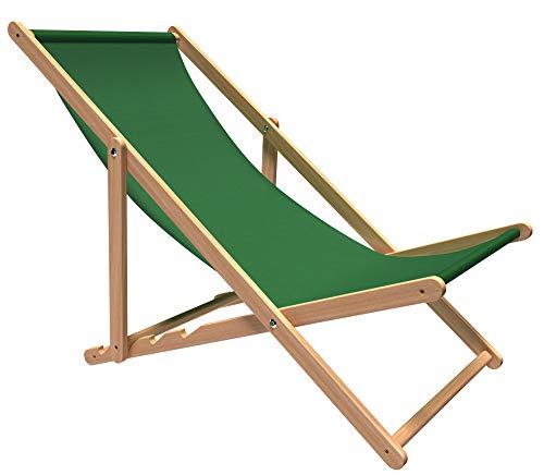 Revolio Liegestuhl Premium aus Buchenholz für Garten und Balkon, Sonnenliege, Strandstuhl, klappbar, verstellbar, bis 130 kg