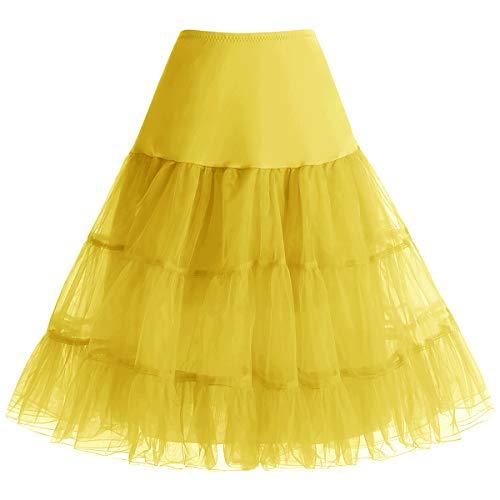 Bbonlinedress Petticoat Unterrock Crinoline Underskirt Reifrock Rock für 50er Vintage Cocktailkleid Yellow L