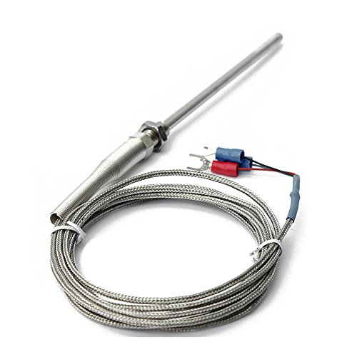 SODIAL (R) Stahl Temperaturfuehler Pt100-Sensor-Kabel 2 M 98mm 3 Draehte -50 ~ 400 Celsius