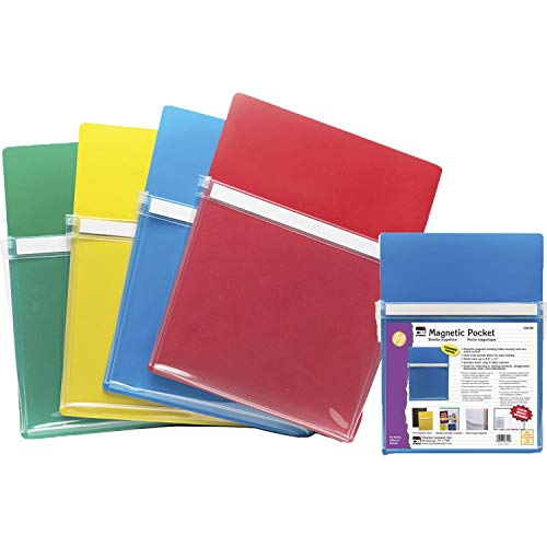 Charles Leonard Magnetic Pockets, 9-1/2W x 11-3/4H Inches, 1' x 10' x 12', Assorted Colors, 4 per Pack