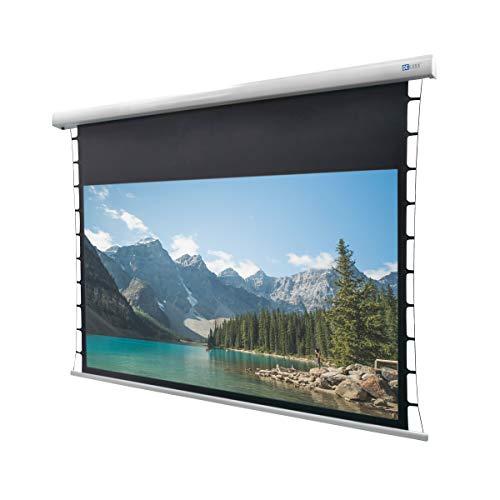 DELUXX Cinema Motor Tension Darkvision Seilspann-Beamerleinwand optimale Planlage und Bildkontrast für Ihr Heimkino - 243 x 136cm - 110 Zoll -16:9
