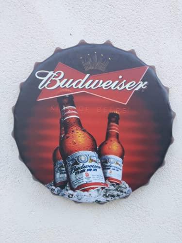 Wall Art Budweiser/Sign/Vintage Tin Metal 30cm 3 botellas cartel Top Bar Pub