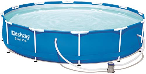 Bestway Steel Pro Frame Pool, rund 366x76 cm Stahlrahmenpool-Set mit Filterpumpe, blau