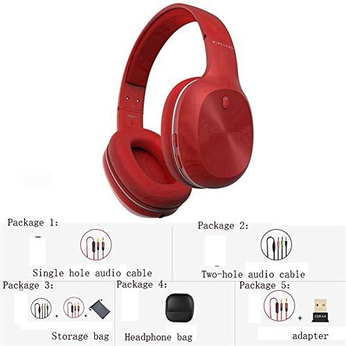 HUOQILIN Auriculares Bluetooth Juegos De Ordenador Auricular del Teléfono De Auriculares Inalámbricos Binaural Juegos De Arcade Deportes Corrientes Generales (Color : Red, Size : B)