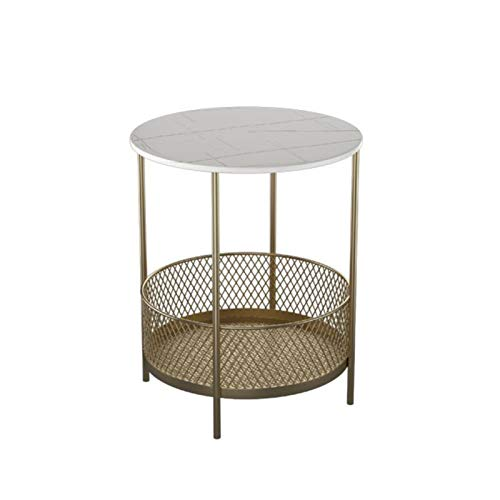 Tables JUAN Modern Sofa Side With Storage Shelf, A Small Round In The Living Room, Golden Wrought Iron Coffee, Bedroom 2 Tier Bedside, 2 Sizes (Color : White, Size : 40x55CM)