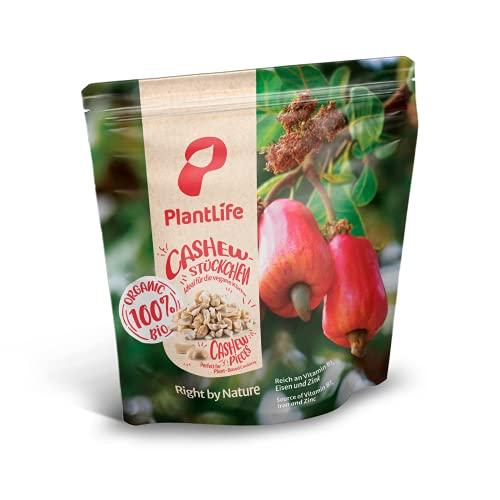 PlantLife Noix de cajou broyées BIO 1kg – Noix de cajou brutes, non traitées et naturelles - 100% recyclable