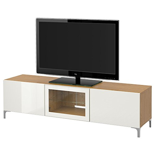 IKEA BESTA - Banc TV avec tiroirs et effet porte de chêne / haute brillance Selsviken / blanc verre clair